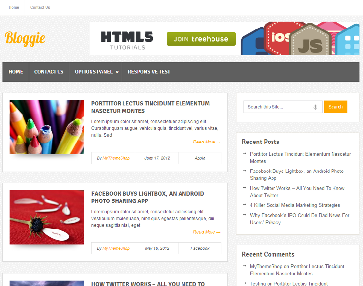 Bloggie - Template grátis para WordPress