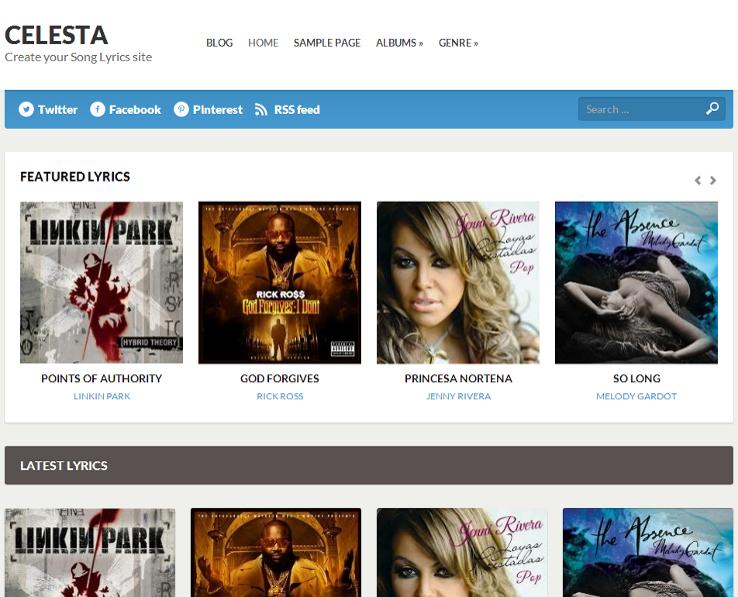 Celesta - Template grátis para WordPress