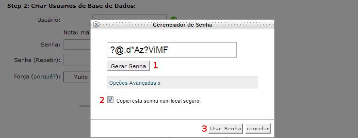 Palavra-passe para o utilizador da base de dados