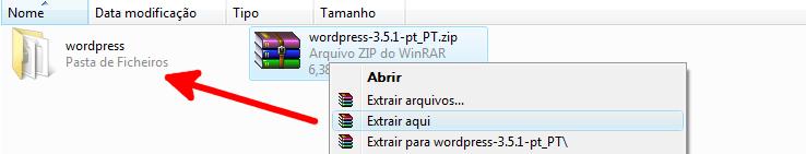 Descompactar o ficheiro antes de instalar o WordPress