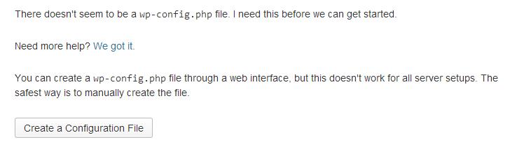 Criar ficheiro de configuração do WordPress