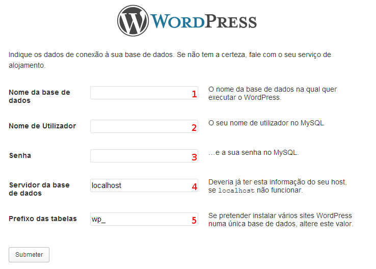 Dados de conexão à base de dados do WordPress
