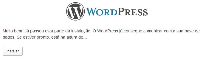 Iniciar a instalação do WordPress