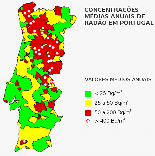 Perigo do radão em portugal