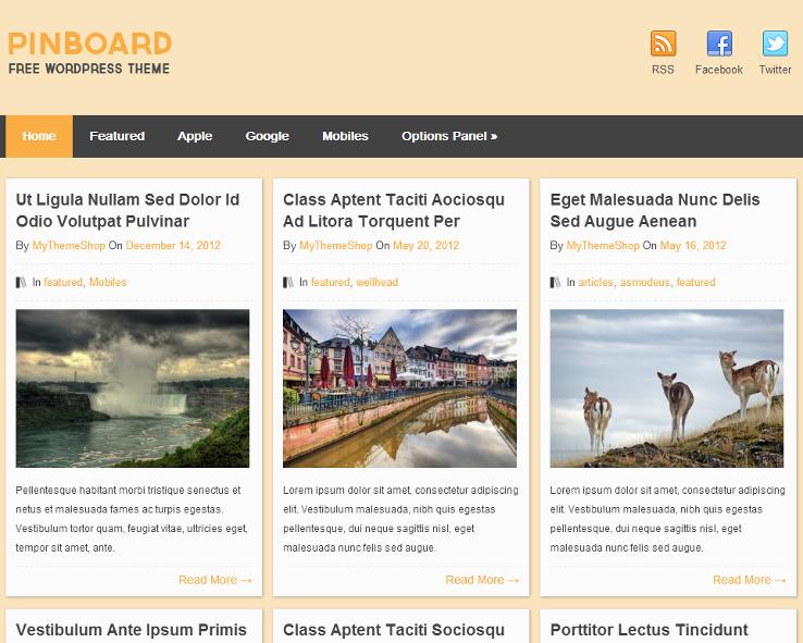 Pinboard - Template grátis para WordPress